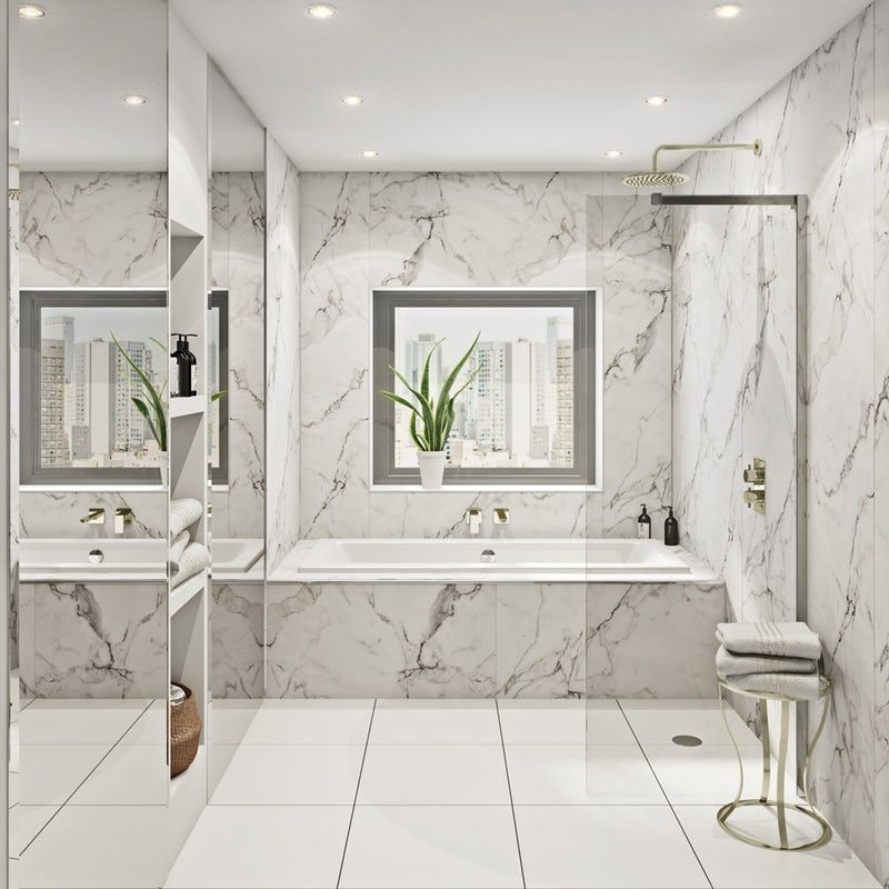 Multipanel Linda Barker Calacatta Marble Hydrolock shower
