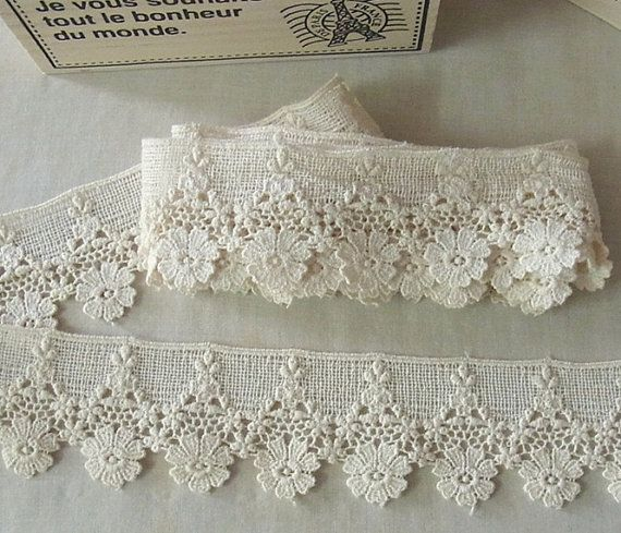 1 Yard Vintage style Cotton Crochet Lace Trim - lovely Flower #331 #dollunderware