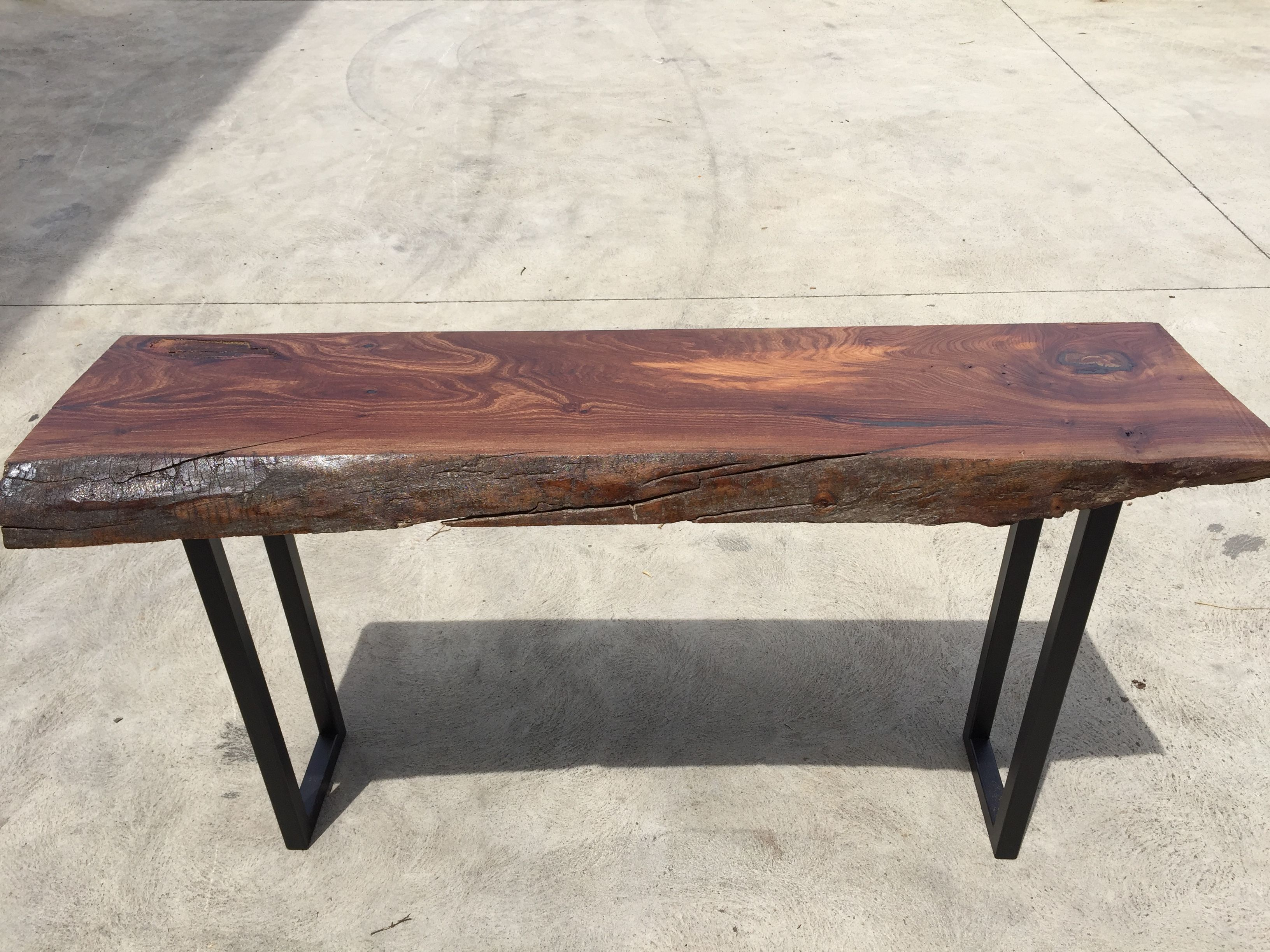 Recycled timber slab industrial hall table console $395 made by
