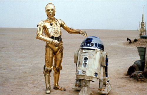 R2-D2 und C-3PO auf Tatooine Topps Journey to Star Wars Nr 98