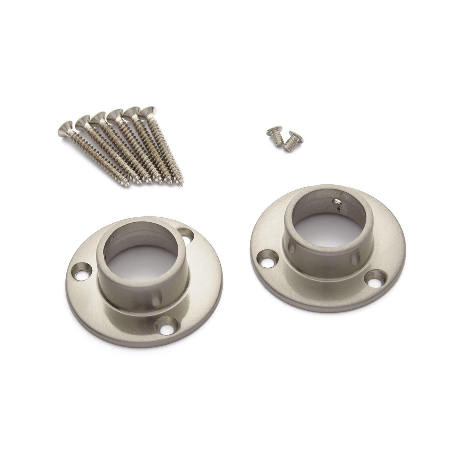 Straight Shower Curtain Rod Flanges In Set Of 2 In Chrome Zinc