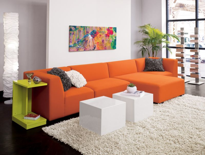 Living Room Orange Sofa Set