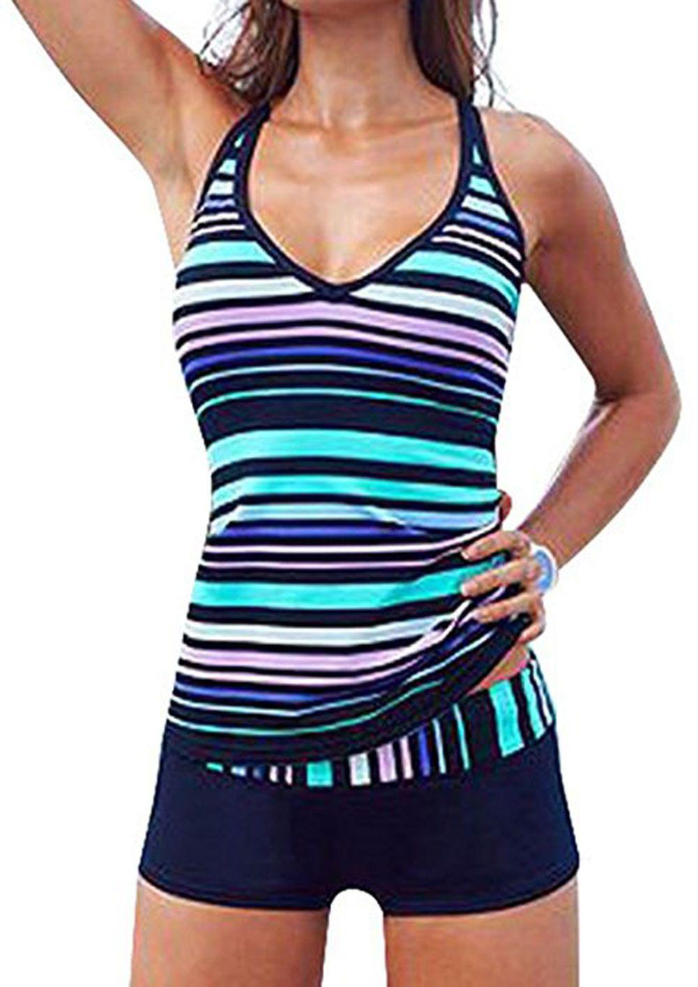 Women Stripes Pattern Two Piece Sporty Swimwear Boy Short