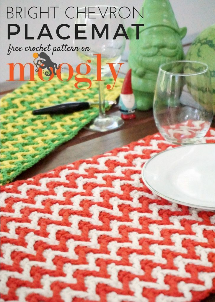 Bright Chevron Placemat Free Crochet Pattern On Mooglyblog