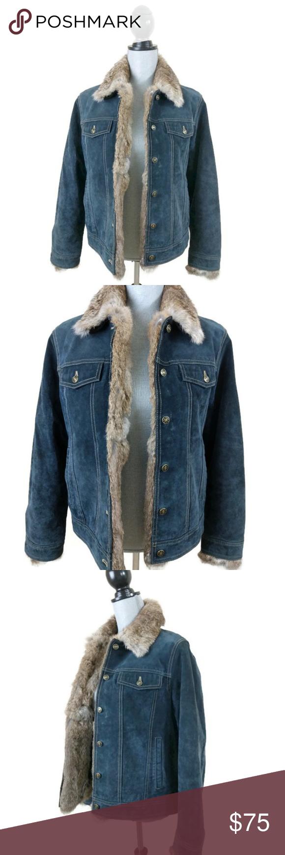 Wilson Leather Maxima Suede Jacket Rabbit Fur Trim