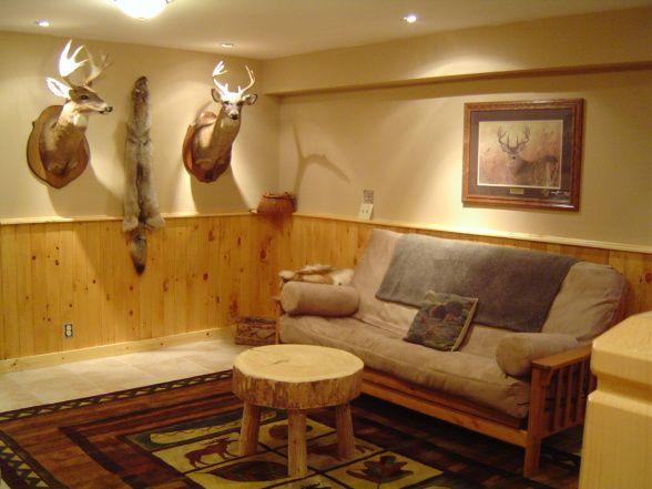 Hunting Lodge Style Basement Room Green Wall Basement