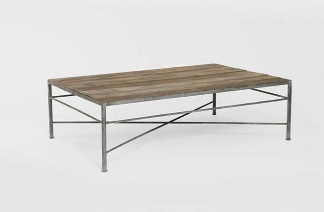 Isabelle Antique Wood Coffee Table Industrial Piping Gray Metal Base Crossed X Stretchers Cocktail