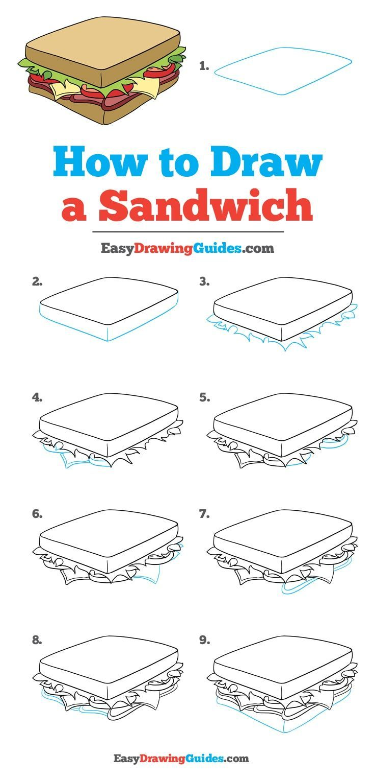 how to draw a sandwich really easy drawing tutorial