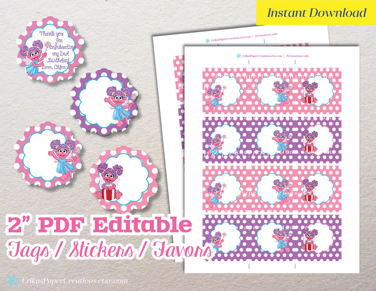 Abby Cadabby Editable PDF Printable Cupcake Cake Topper Sticker Favor Tags by ErikasPaperCreations on Etsy