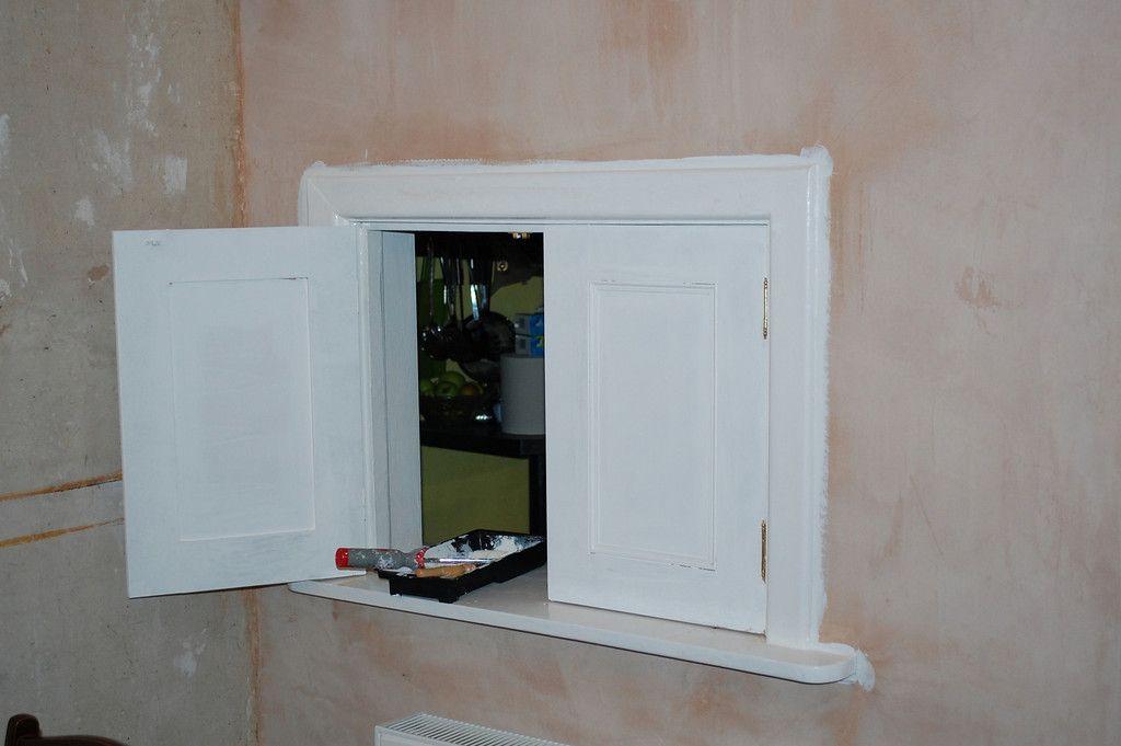 Oak Serving Hatch With Glazed Doors