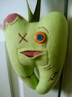zombie tooth fairy pillow - made mine into a Frankenstein, really cool