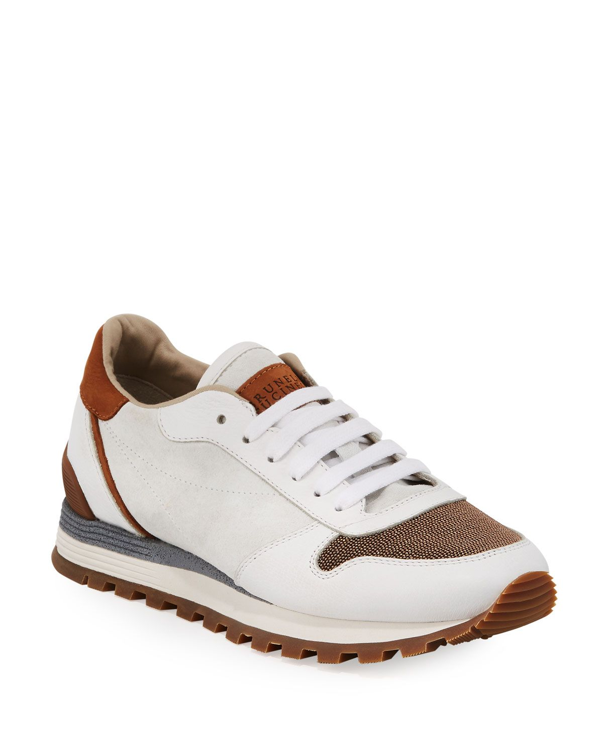 Suede And Leather Runner Sneakers In 2020 Sneakers Brunello