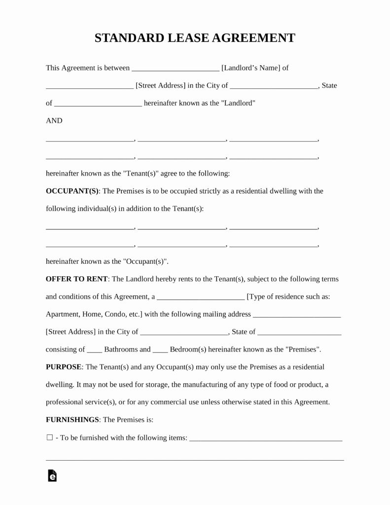 Residential Rental Agreement Form Elegant Free Standard Residential Lease Agreement Rental Agreement Templates Lease Agreement Free Rental Agreement Templates