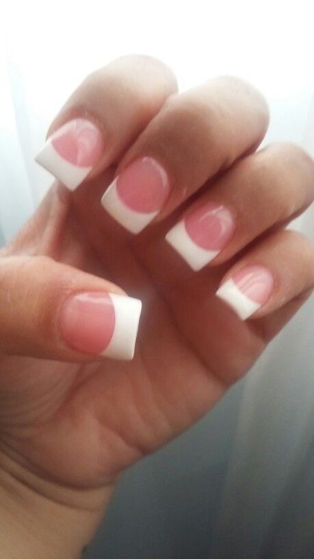 pink and white acrylic nails. classy