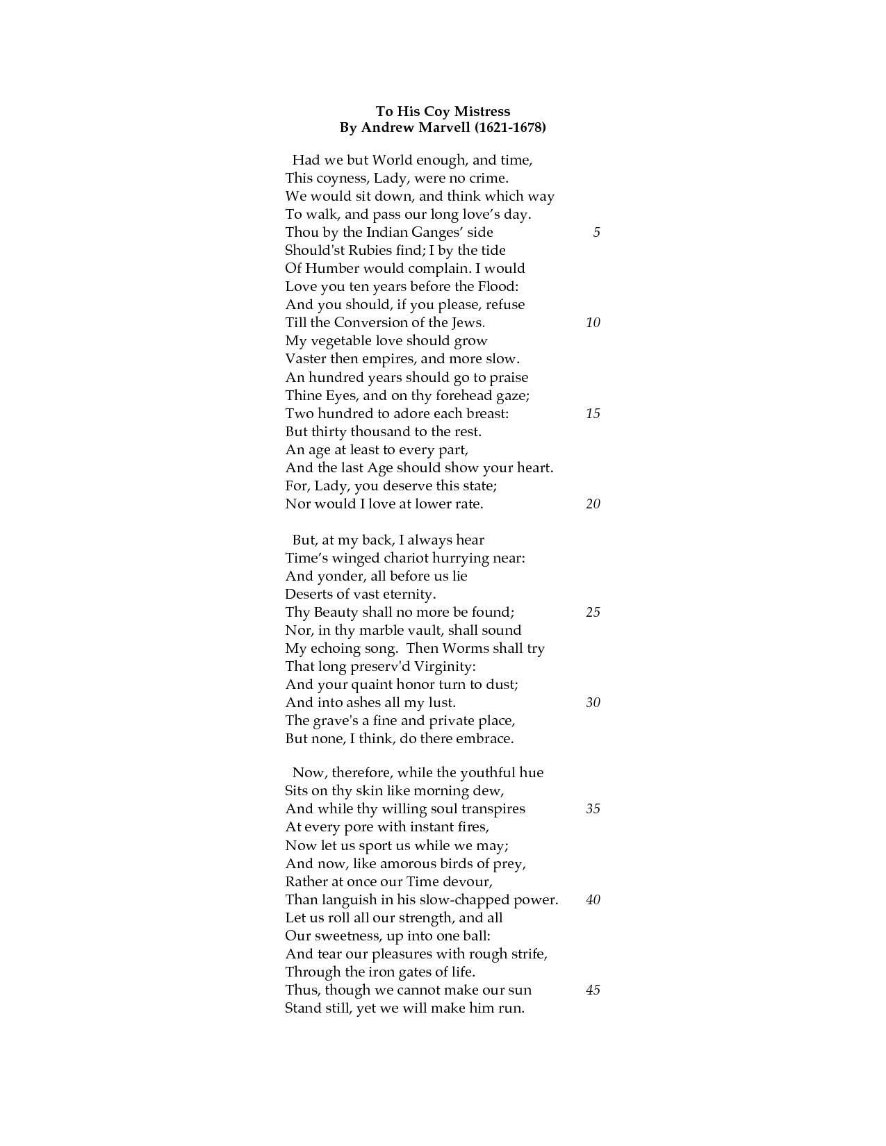the use of sound in to his coy mistress by andrew marvell This essay example has been submitted by a student our writers can write a better one for you in this assignment i will compare and contrast two poems to his coy mistress written by andrew marvell in 1650 and sonnet 116 by william shakespeare written.