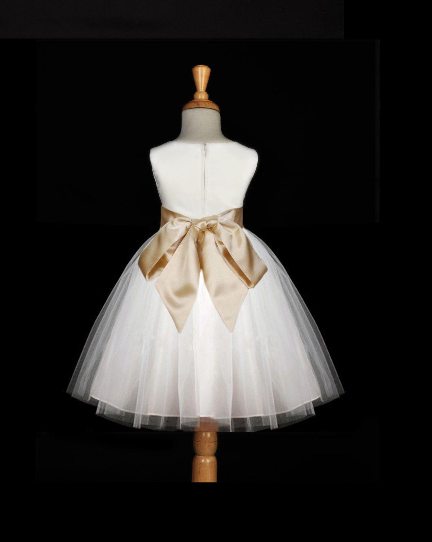 White flower girl tulle dress hand te sash pageant wedding bridal