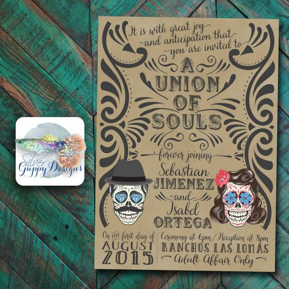 Vintage Union Of Souls Day Of The Dead Wedding Invitation   Etsy