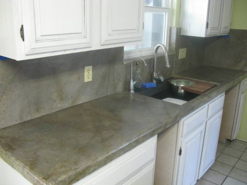 Countertops After With Concrete Overlay To Create The Marbled