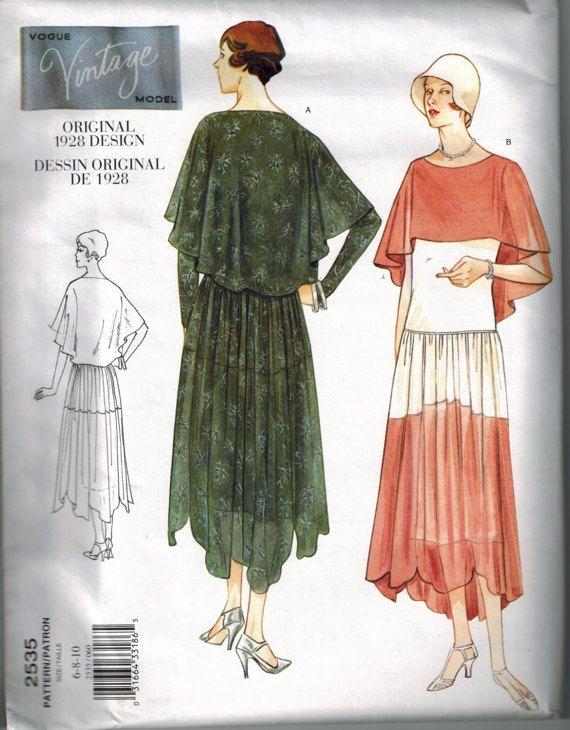 1928 Vogue 2535 Vintage Model Sewing Pattern OOP Flapper Drop waist ...
