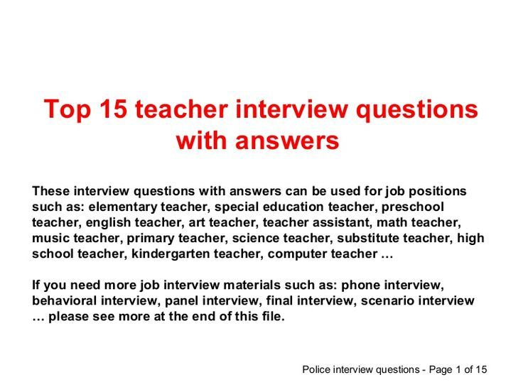 special education teacher interview questions and answers