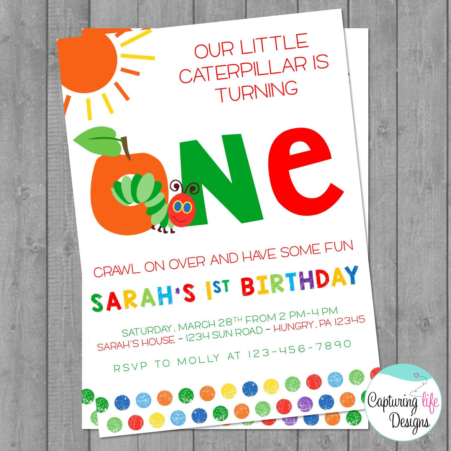 Very Hungry Caterpillar Party Invitation by CapturingLifeDesigns ...