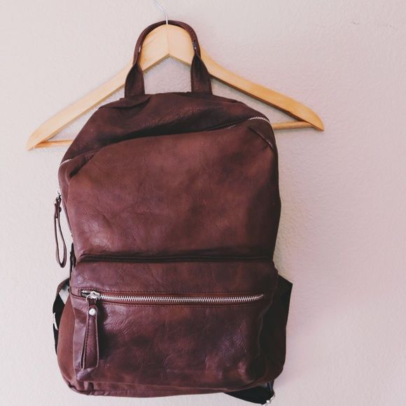 Vegan Leather Brown Backpack Vegan Leather Brown Backpack for sale. Gently used Bags Backpacks
