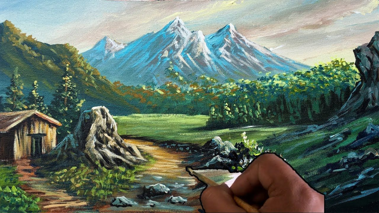 Easy Landscape Painting For Beginners Realistic Acrylic Painting Tutor Landscape Paintings Easy Landscape Paintings Landscape Painting Artists