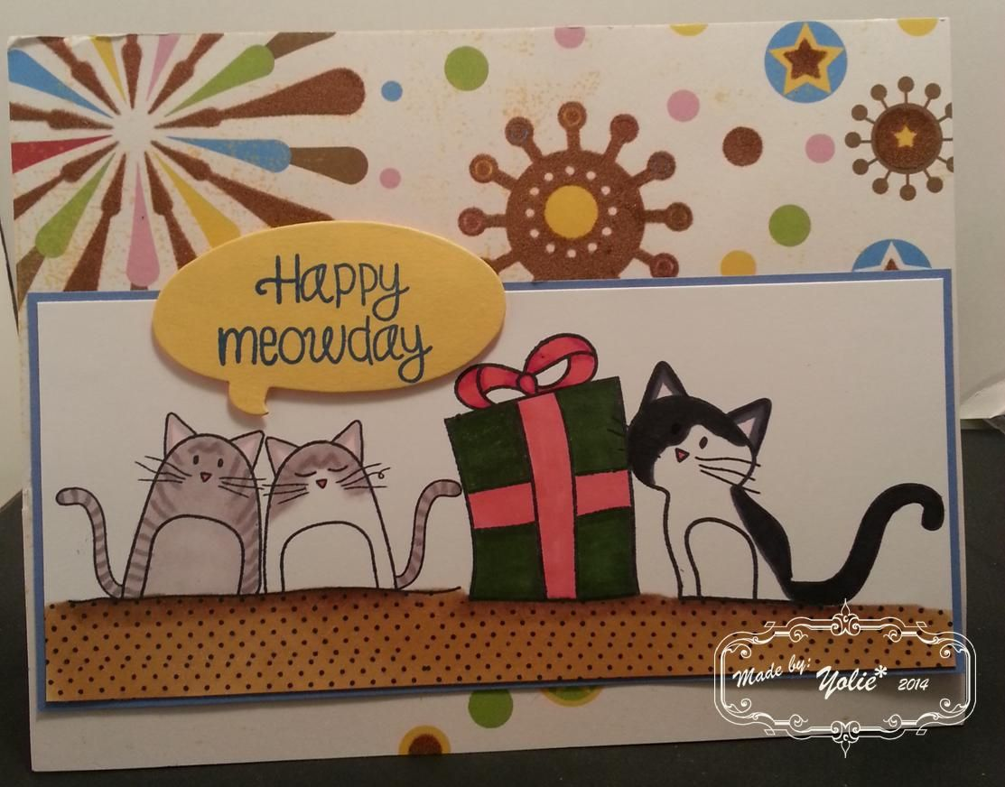 happy meowday all stamps from simon says stamps 2 cats and dots
