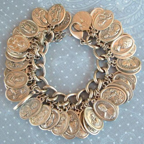 Religious Charm Bracelets: 56 Religious Catholic Saint Medals Charm Bracelet Ooak