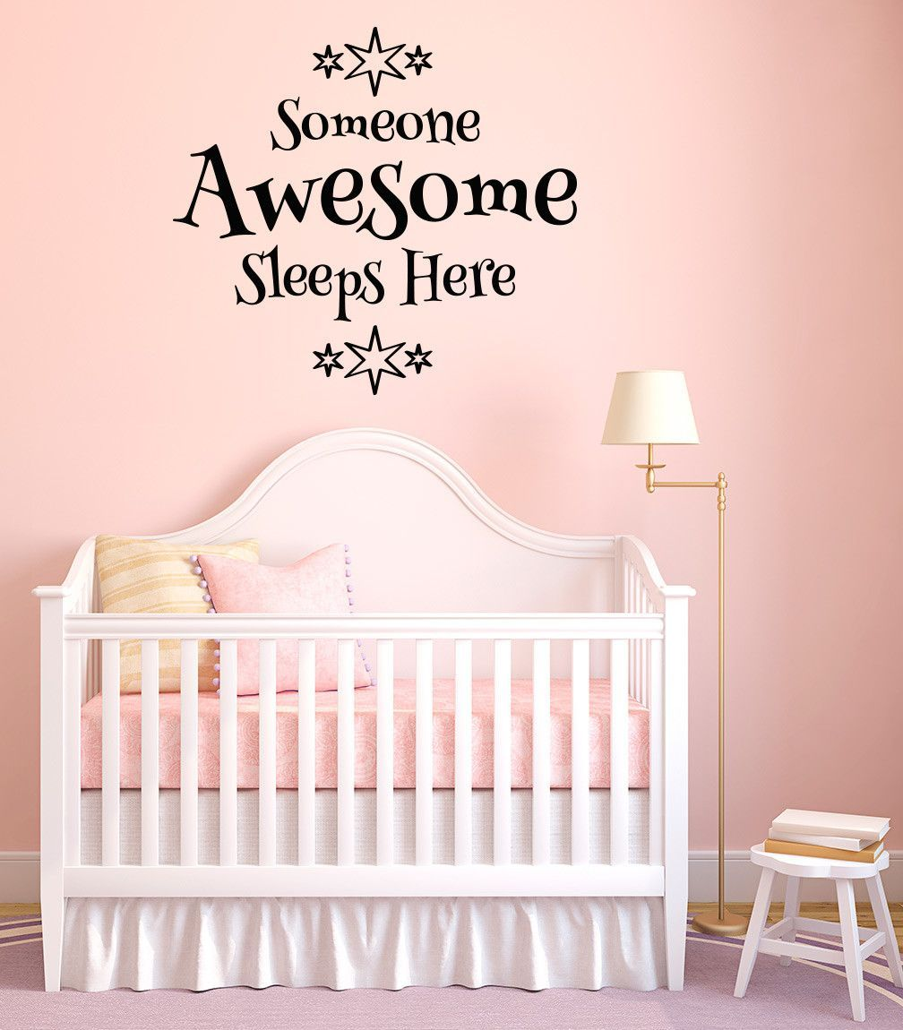 Wall someone awesome sleeps here d wall vinyl decal yydc