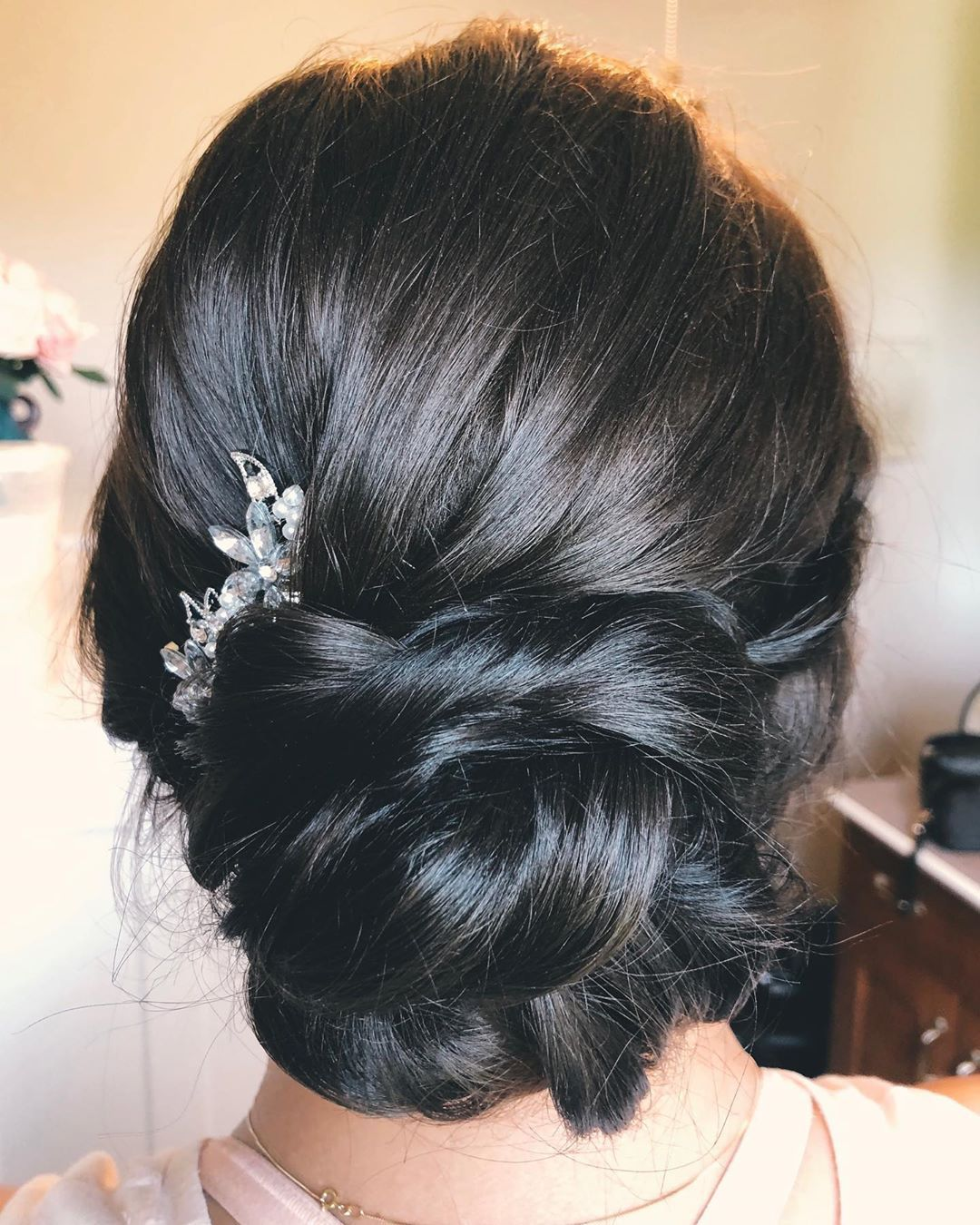 Low Updo For Brunettes Dark Hair Black Hair Twisted Bun Low Bridesmaid Updo Bridal Updo Low Bun Hair Twist Bun Black Hair Updo Hairstyles Hair Twists Black