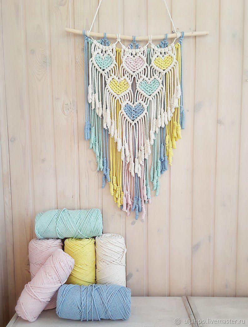 Colored hearts macrame - decor, macrame, home decor, children, interior, interior decor