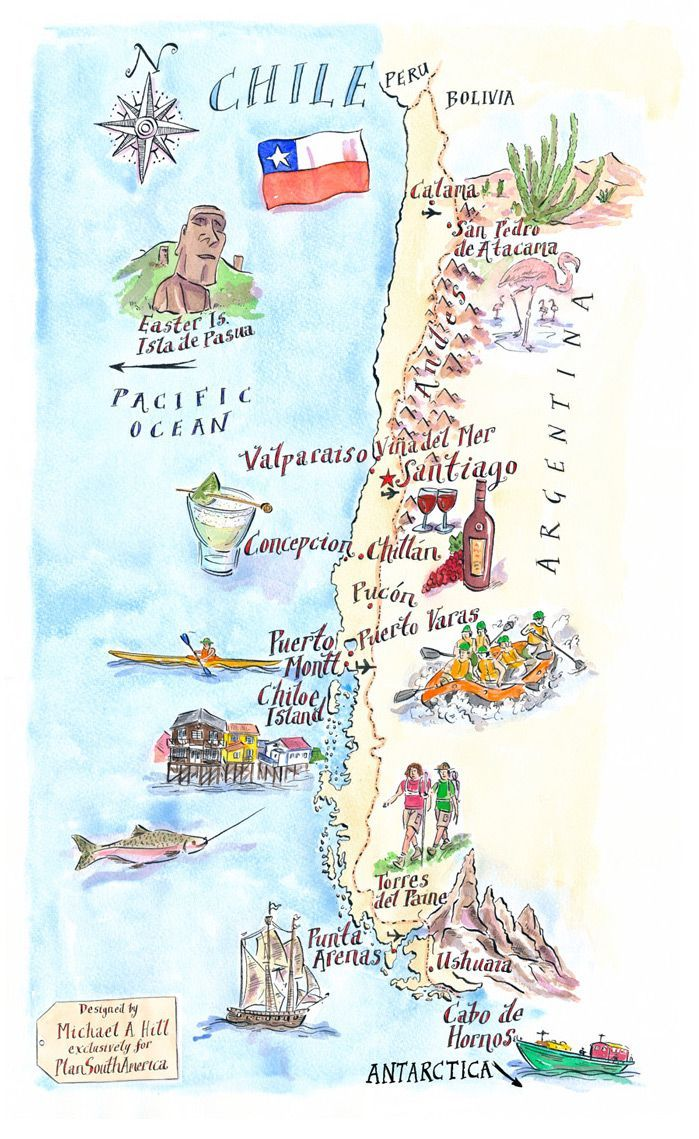 Michael A Hill Chile Map Plansouthamerica The Travel Specialists Illustrated Map Travel Maps South America Travel
