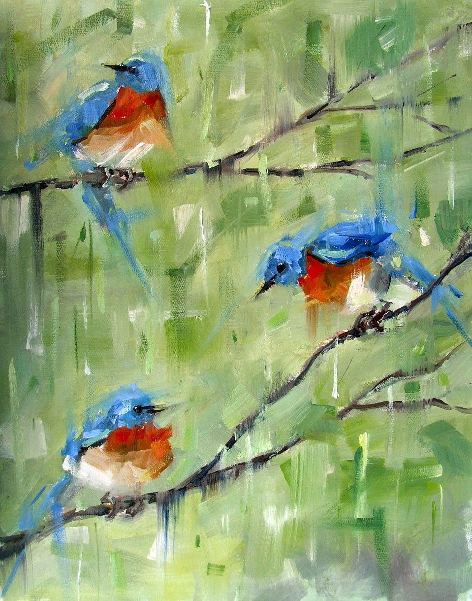 Three Bluebirds original impressionistic oil painting ~ Gina Brown