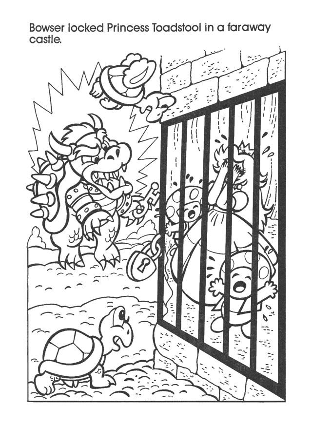 Retro Mario & Bowser Coloring Book Pages Mario art