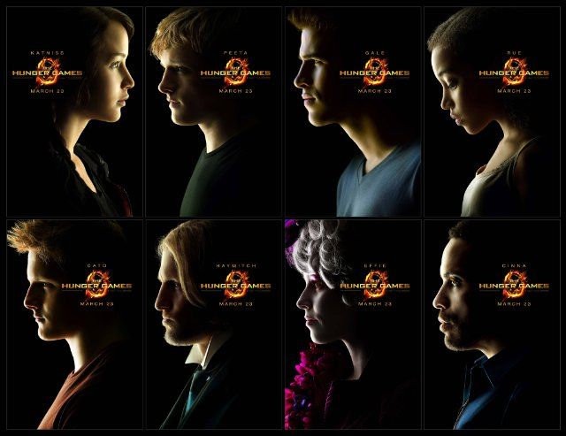 The Hunger Games main characters;  Katniss, Peeta, Gale, Rue, Cato, Haymitch, Effie, and Cinna<3