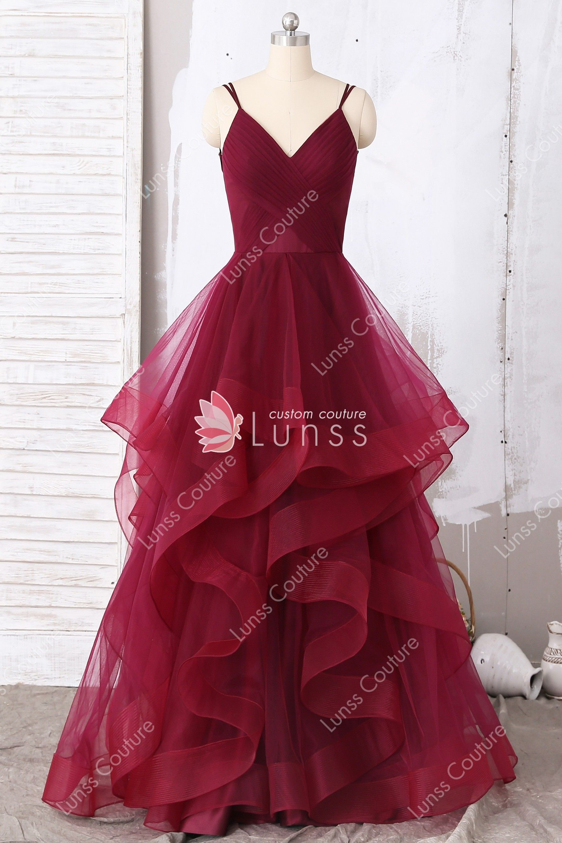 934ce32cd73 Chic Wine Deep V-neckline Pleated Bodice Layered Skirt Floor-length ...