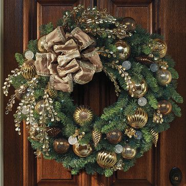 Designer decorated bronzegold cordless outdoor christmas wreath christmas ornament mozeypictures Images