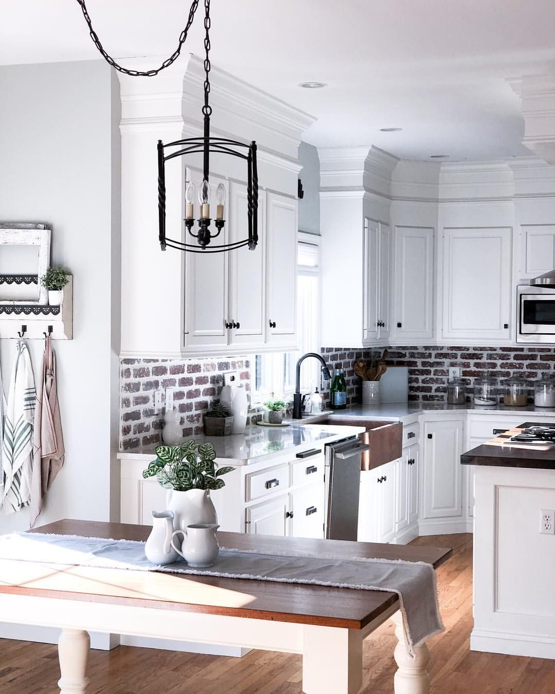 Farmhouse Kitchen Brick Backsplash White Kitchen Kitchen Remodel Kitchen Backsplash Designs Kitchen Cabinetry Design Chic Kitchen