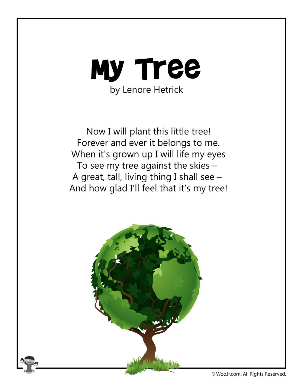 My Tree Arbor Day Poem | Kids poems, Arbour day, Earth day ...