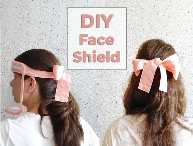 Easy Reusable DIY Face Shield with Cute Bow Headband in