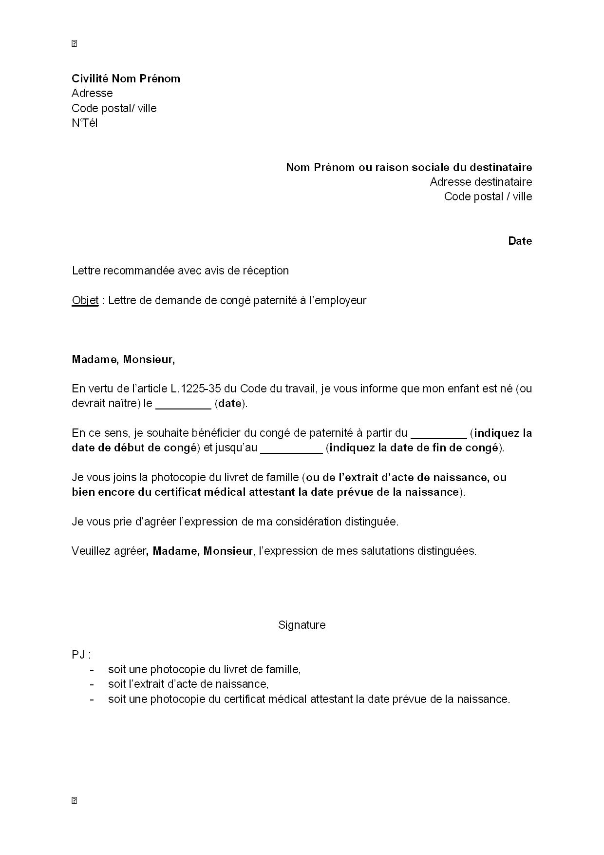 congé parental lettre Modele lettre retour conge parental | lettre | Pinterest congé parental lettre