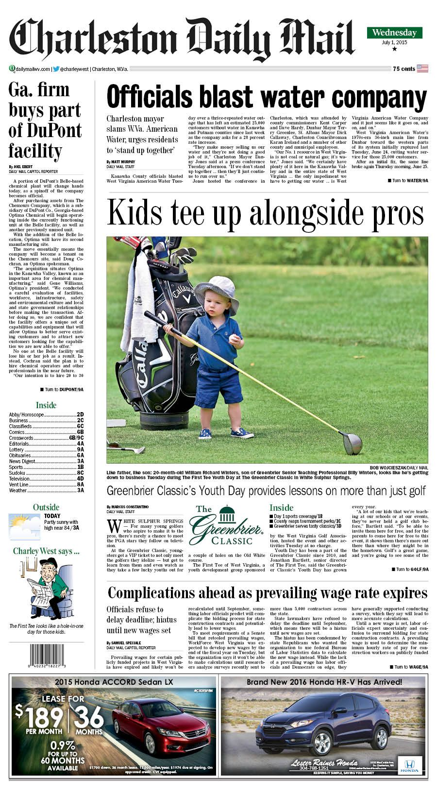 On Wednesday's front, kids teed up alongside the pros a The Greenbrier Classic in White Sulphur Springs. The First Tee of West Virginia, a youth development group sponsored by the West Virginia Golf Association, hosted the Youth Day event and other activities Tuesday at no charge. Youngsters were given the chance to meet pro golfers, learn from them and even hit a few balls on the Old White course.