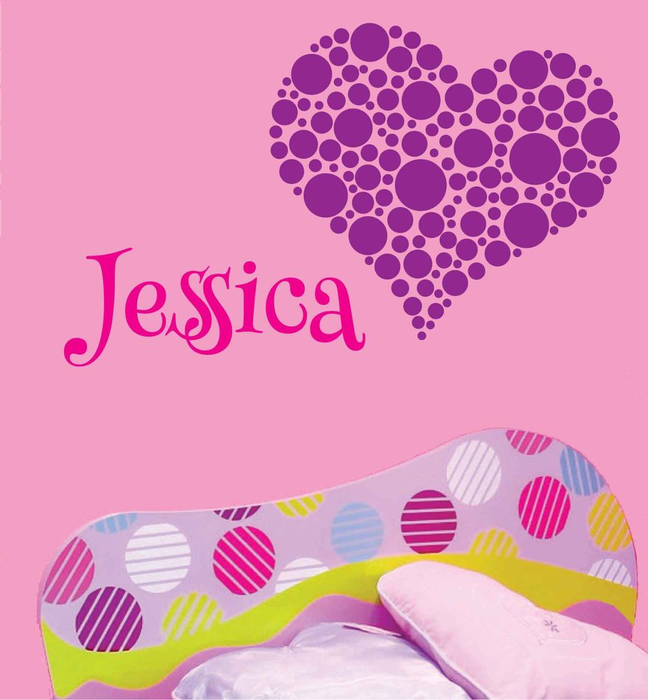 jessica heart dots decal children personalized name monogram wall jessica heart dots decal children personalized name monogram wall art vinyl