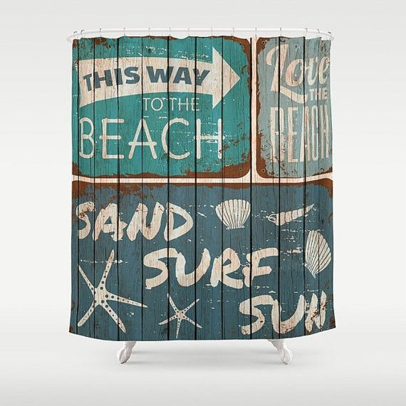 Beach Shower Curtain Rustic Sign Faux Wood Beach Shower Curtains