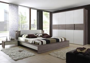 Chambre adulte complète contemporaine OMEGA, coloris blanc & truffe ...