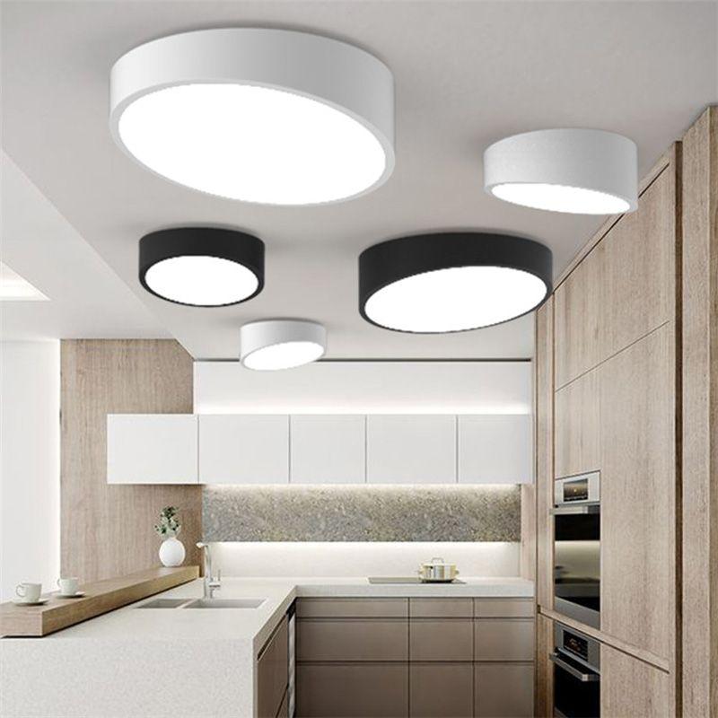 Nouveau Moderne Géométrie Blanc Noir Acrylique Led Plafond Lampe En