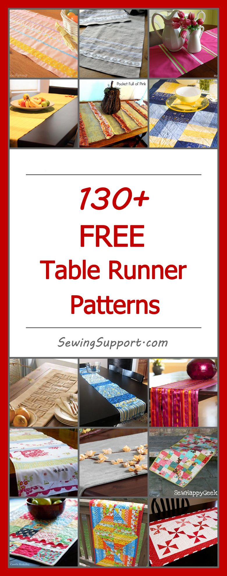150+ Free Table Runner Patterns | Pinterest | Project table ...