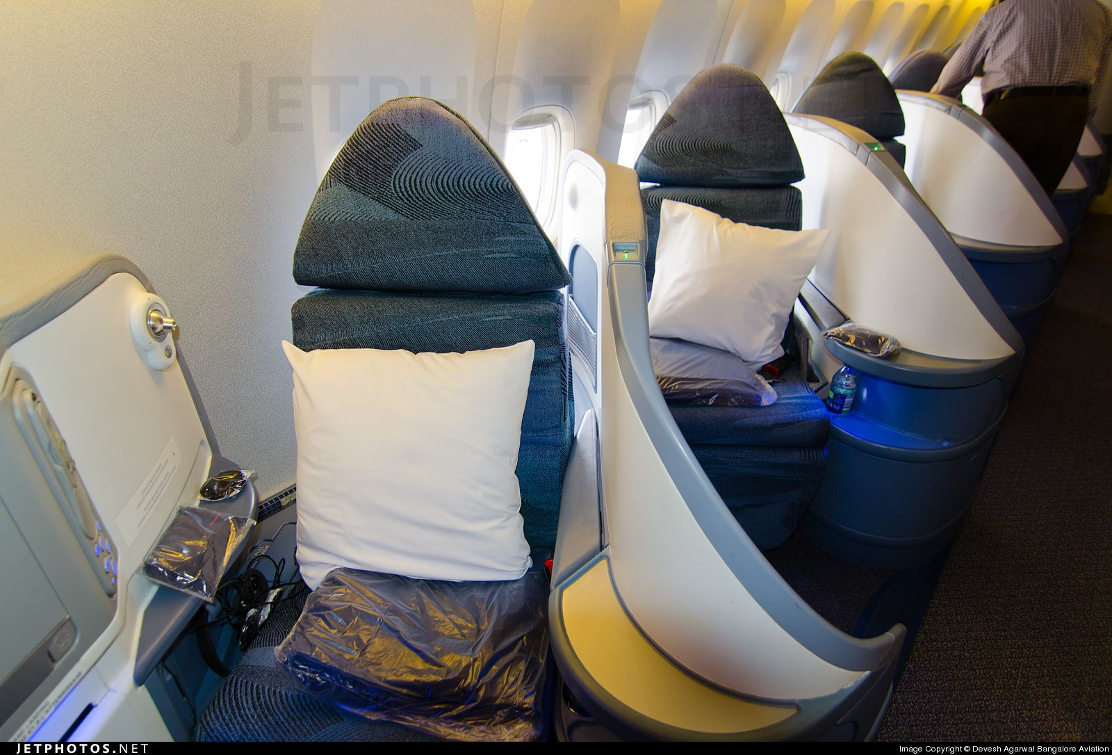 BusinessFirst cabin on @aircanada Boeing 777-333ER C-FITW from Frankfurt to Toronto