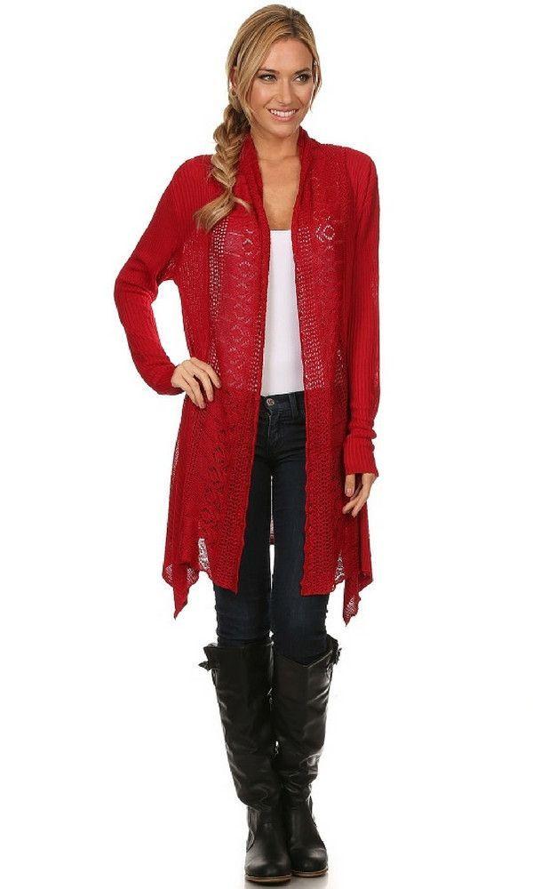 Knit Long Sleeved Asymmetrical Hem Cardigan